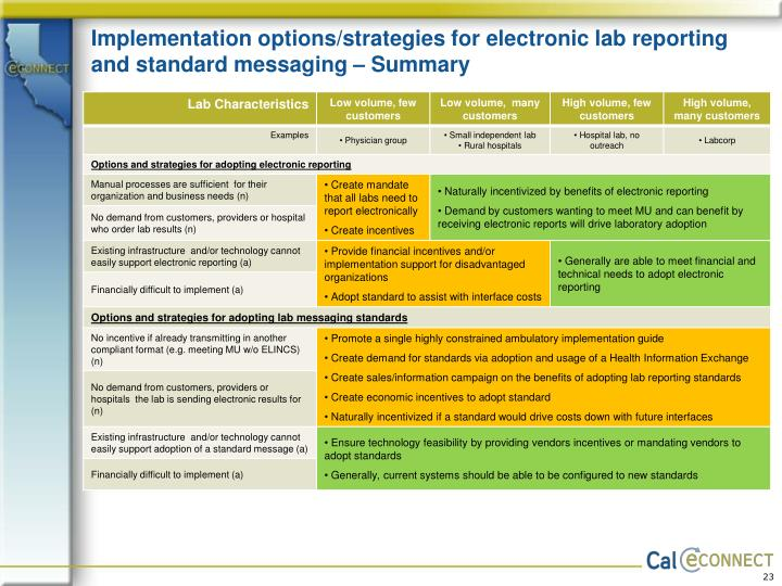 Implementation options/strategies for electronic lab reporting and standard messaging – Summary