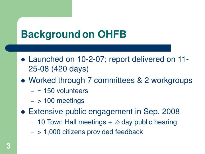Backgroundon OHFB