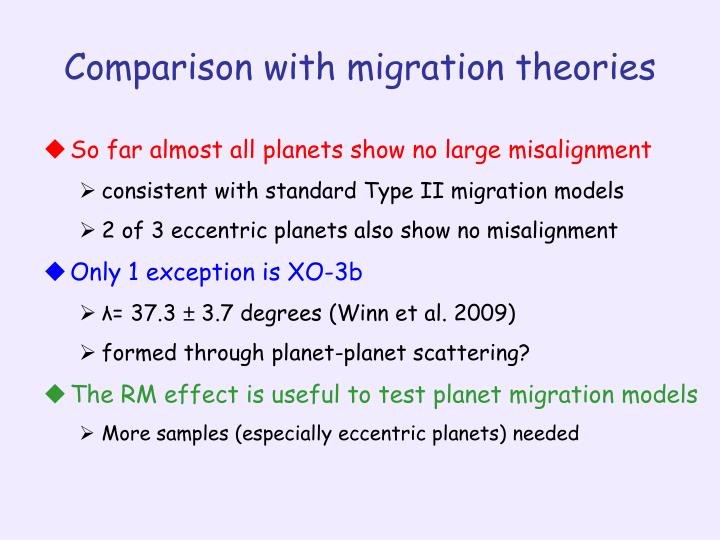 Comparison with migration theories