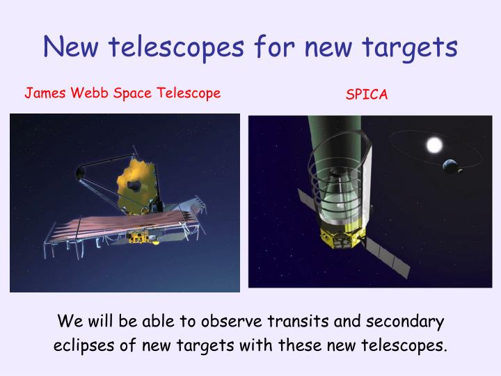 New telescopes for new targets