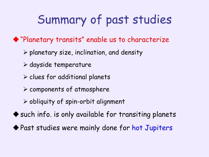 Summary of past studies