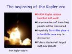 the beginning of the kepler era