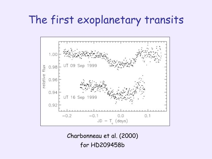 The first exoplanetary transits