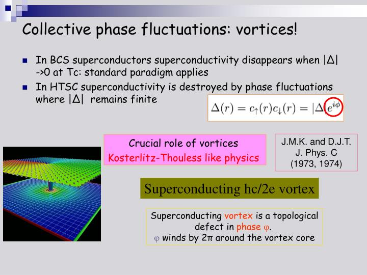 Collective phase fluctuations: vortices!
