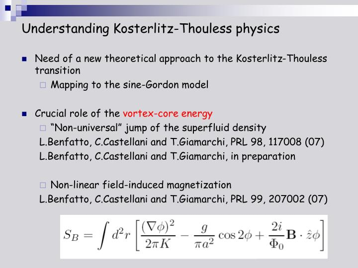 Understanding Kosterlitz-Thouless physics