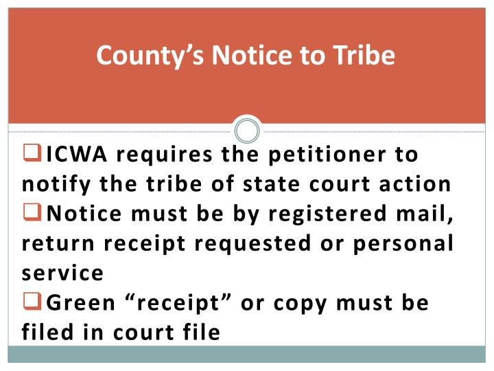 County's Notice to Tribe