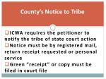 county s notice to tribe