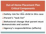 out of home placement plan critical components