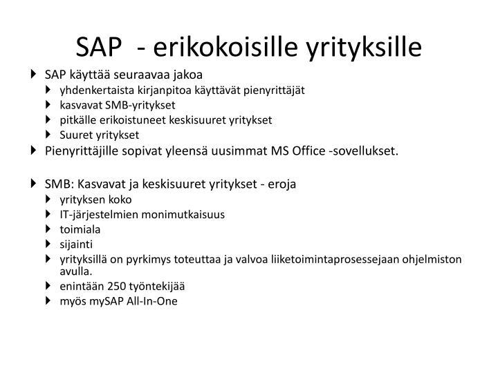 SAP  - erikokoisille yrityksille