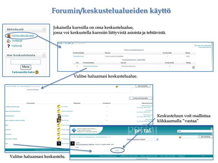 Forumin/keskustelualueiden käyttö