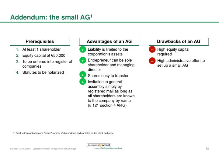 Addendum: the small AG