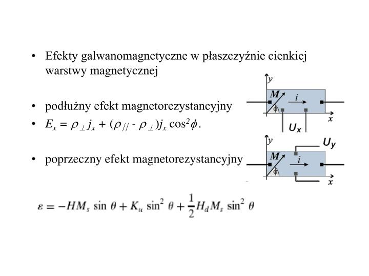 Efekty galwanomagnetyczne w płaszczyźnie cienkiej warstwy magnetycznej