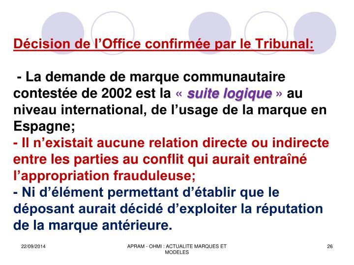 Décision de l'Office confirmée par le Tribunal: