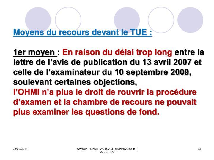 Moyens du recours devant le TUE :