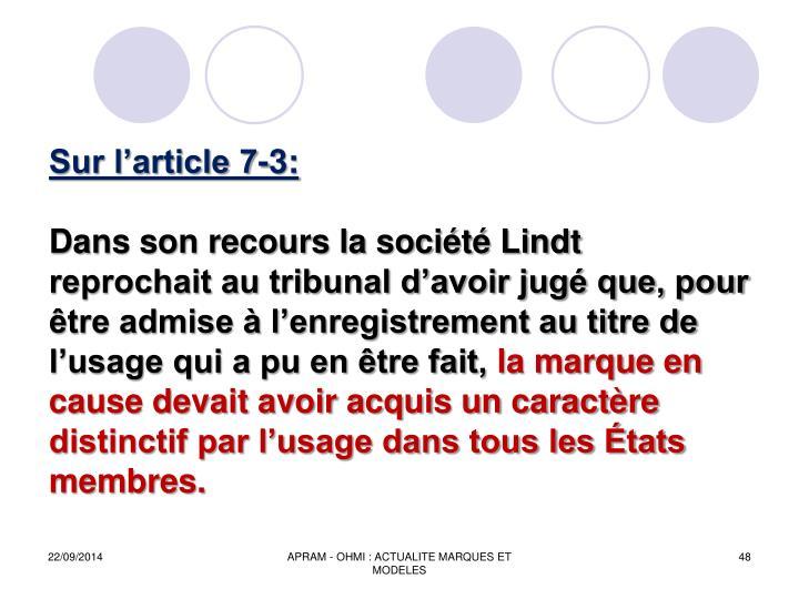Sur larticle 7-3: