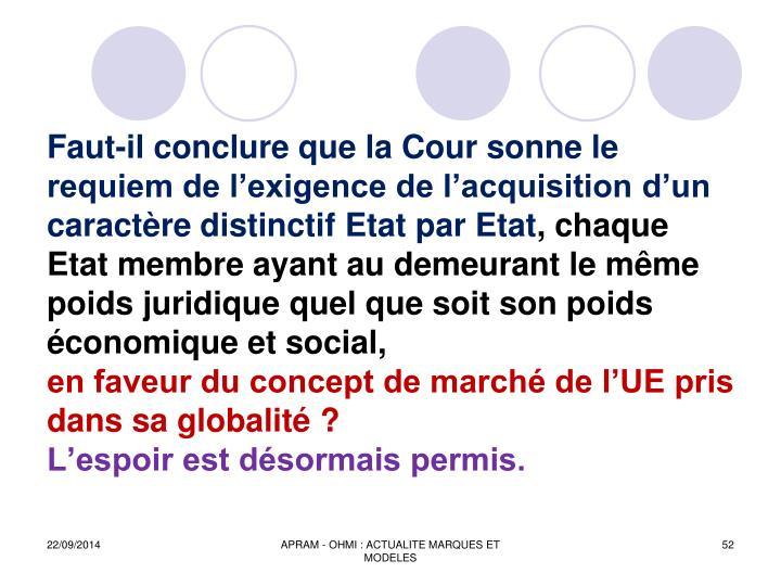 Faut-il conclure que la Cour sonne le requiem de l'exigence de l'acquisition d'un caractère distinctif Etat par Etat
