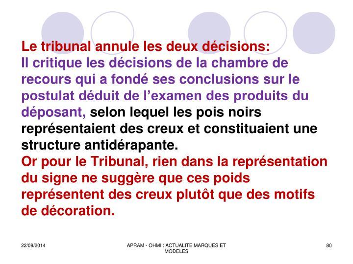 Le tribunal annule les deux dcisions: