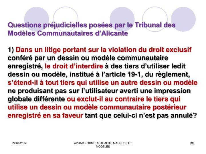Questions préjudicielles posées par le Tribunal des Modèles Communautaires d'Alicante