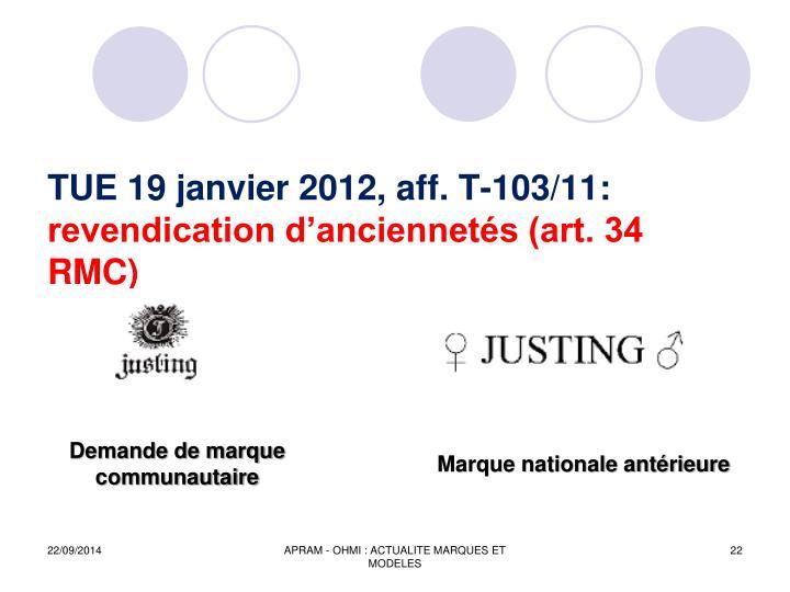 TUE 19 janvier 2012, aff. T-103/11: