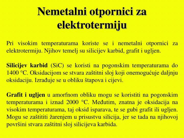 Nemetalni otpornici za elektrotermiju