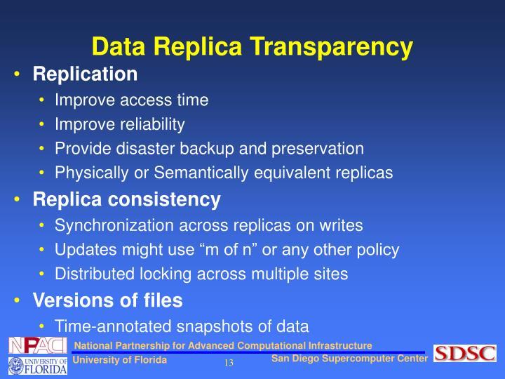 Data Replica Transparency