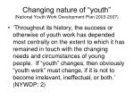 changing nature of youth national youth work development plan 2003 2007
