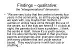 findings qualitative the intergenerational dimension