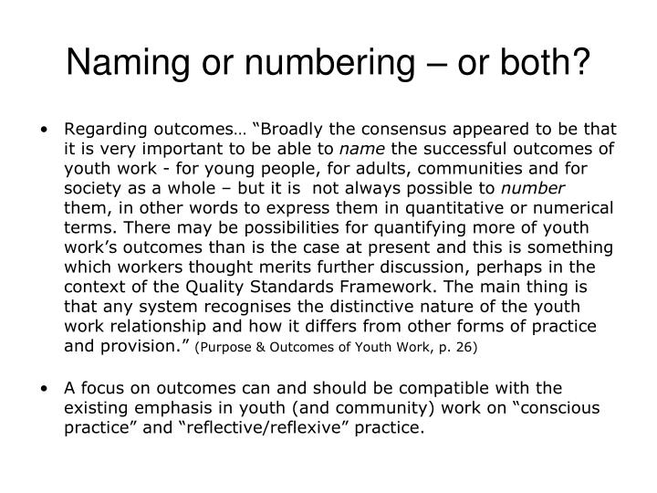 Naming or numbering – or both?