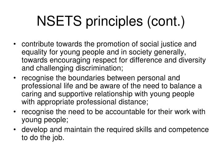 NSETS principles (cont.)