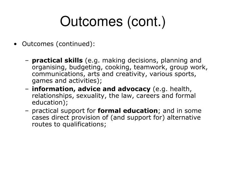 Outcomes (cont.)