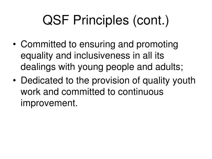 QSF Principles (cont.)