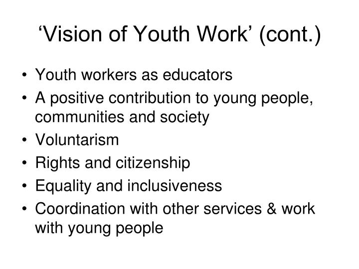 'Vision of Youth Work' (cont.)