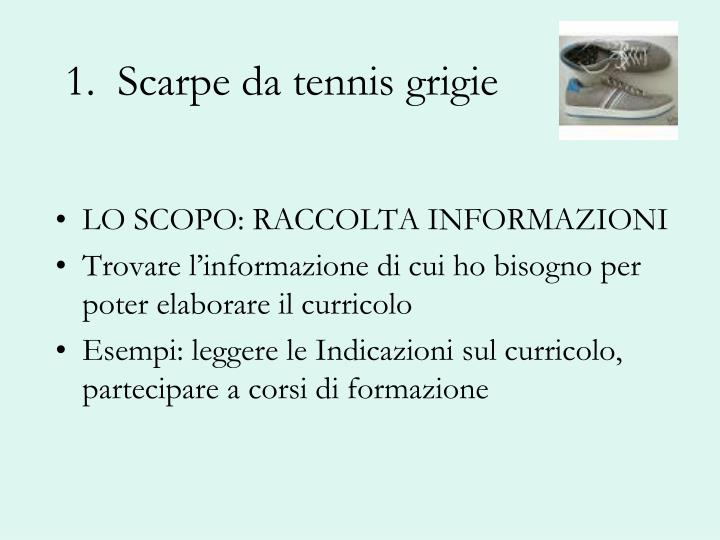 1.  Scarpe da tennis grigie