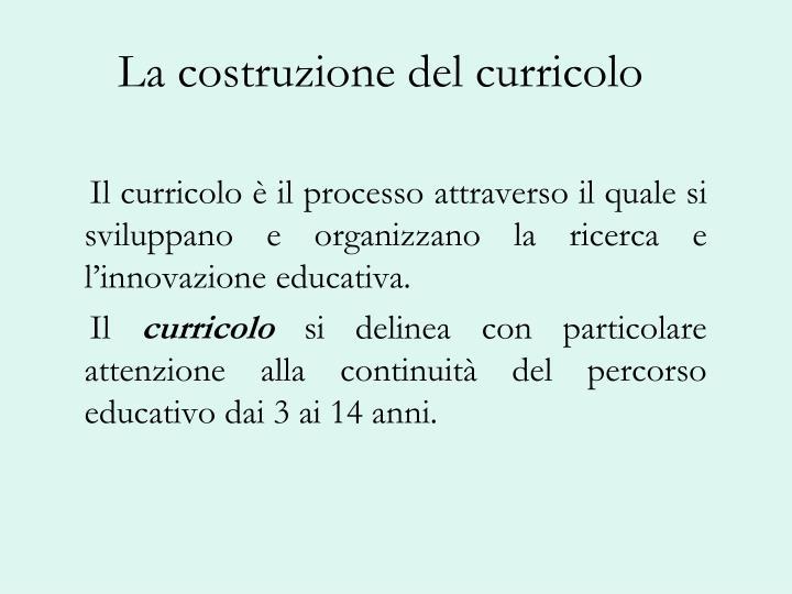 La costruzione del curricolo