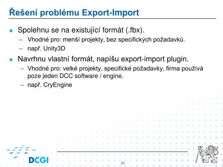 Řešení problému Export-Import