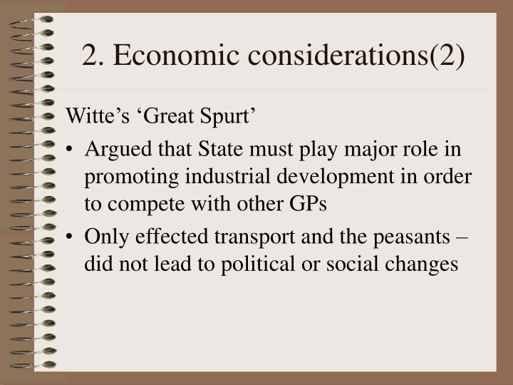 2. Economic considerations(2)