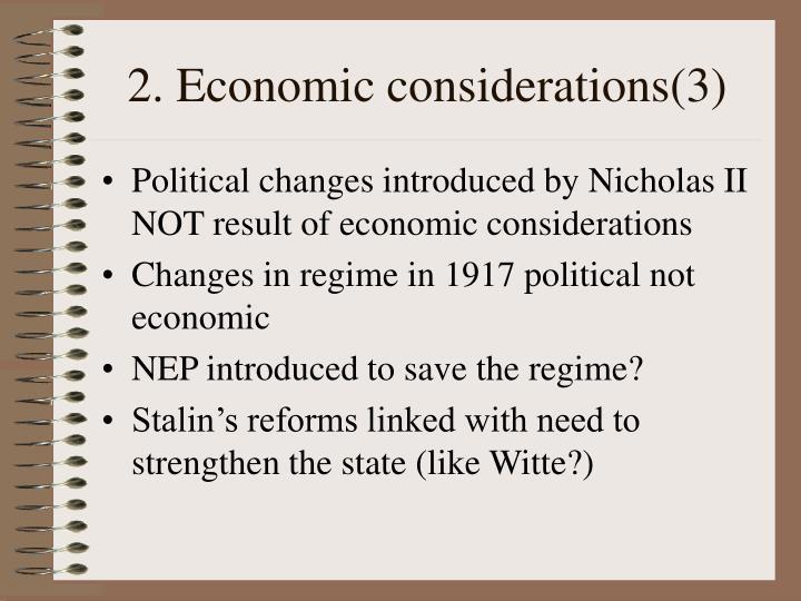 2. Economic considerations(3)