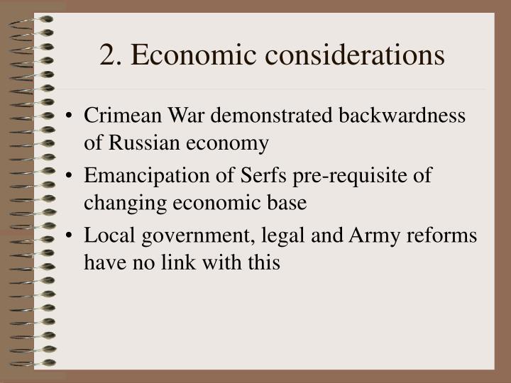 2. Economic considerations