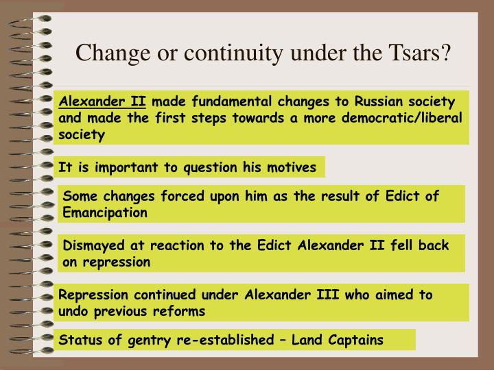 Change or continuity under the Tsars?