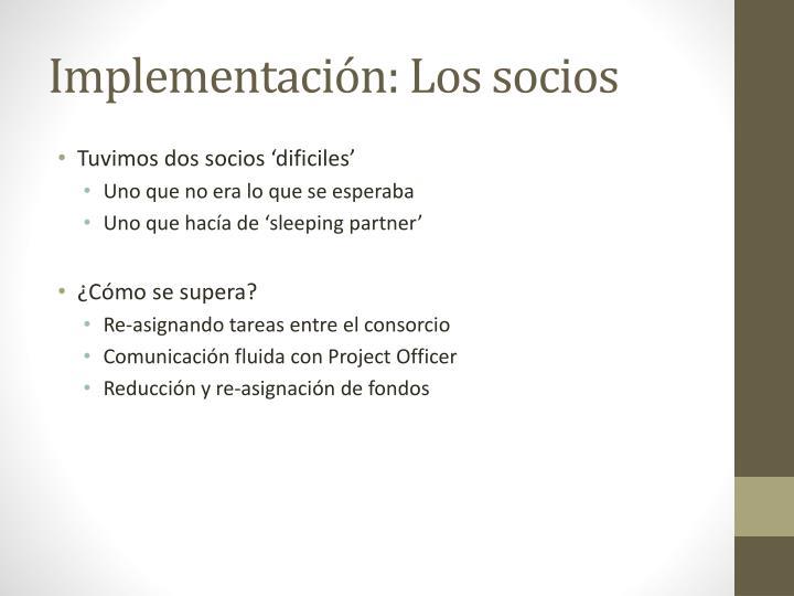 Implementación: Los socios