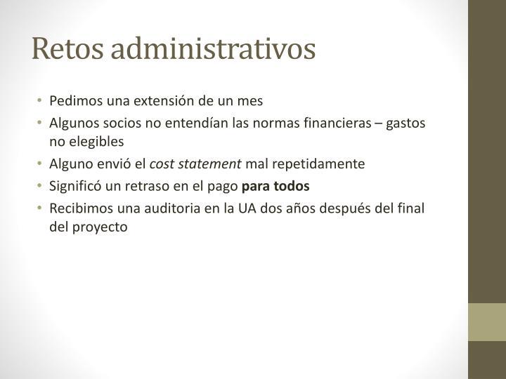 Retos administrativos