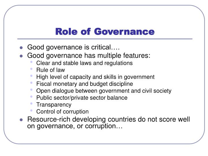 Role of Governance