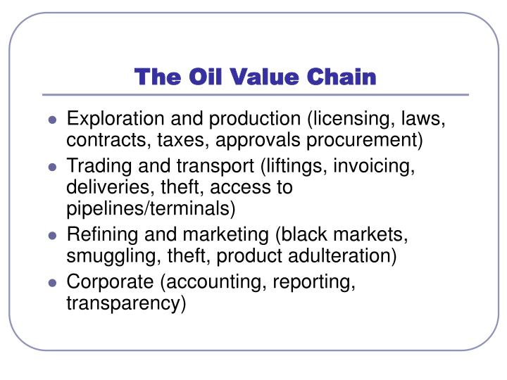 The Oil Value Chain