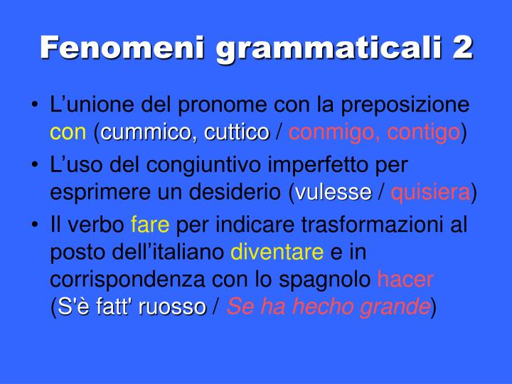 Fenomeni grammaticali 2