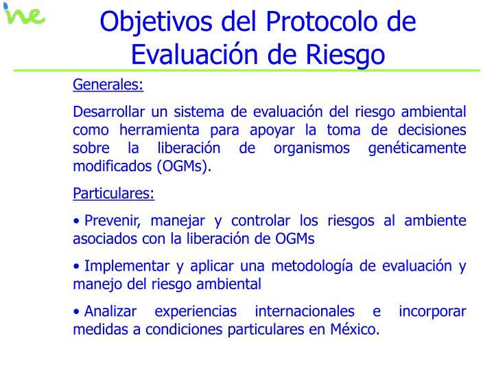 Objetivos del Protocolo de Evaluación de Riesgo
