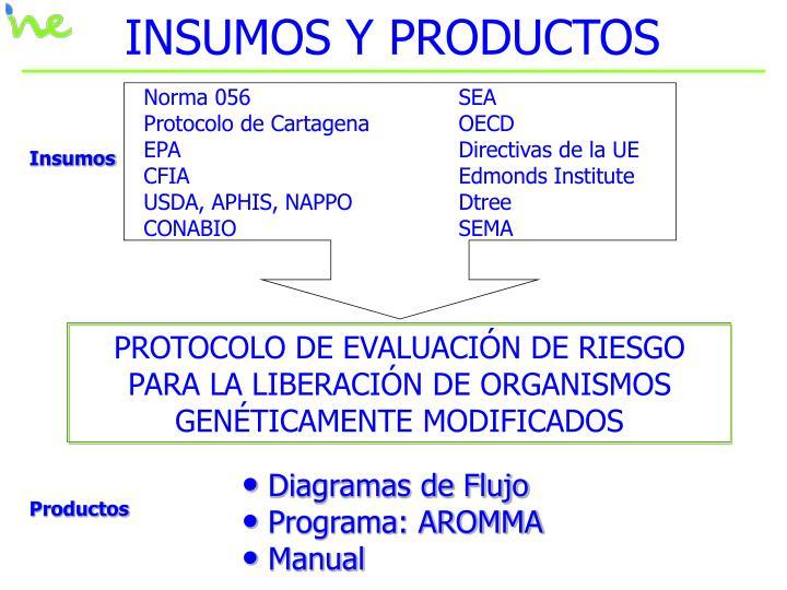 INSUMOS Y PRODUCTOS
