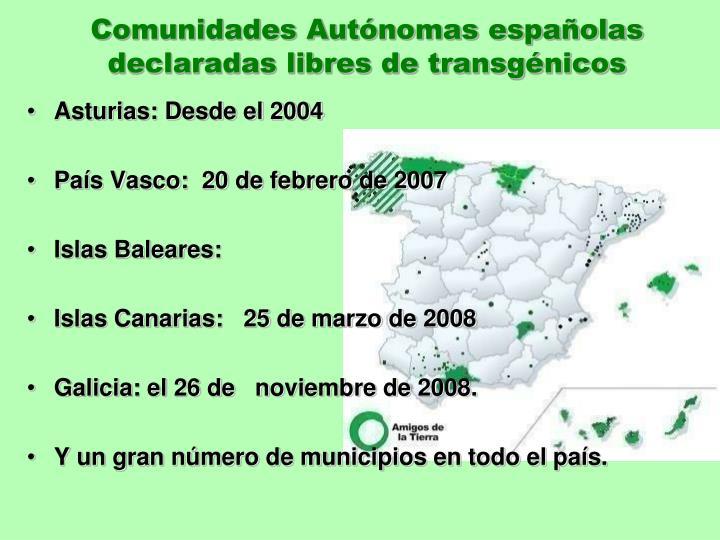 Comunidades Autónomas españolas declaradas libres de transgénicos