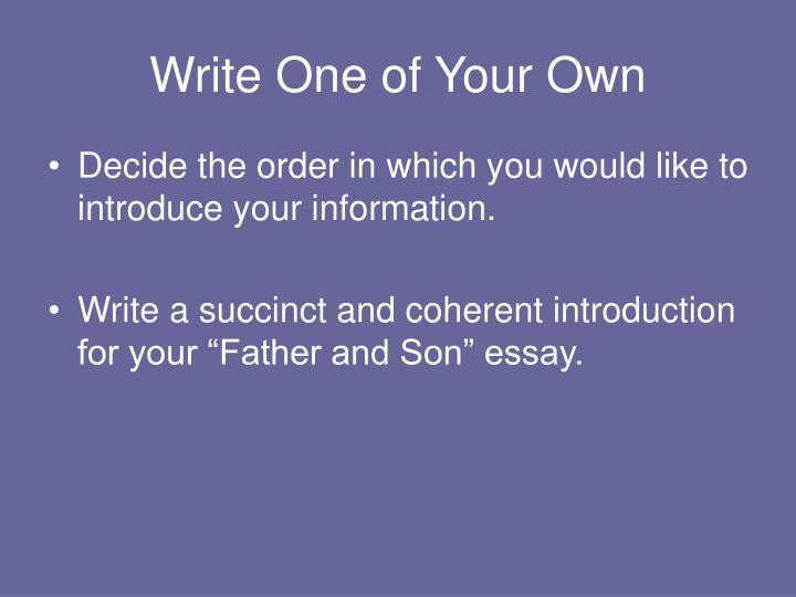Write One of Your Own