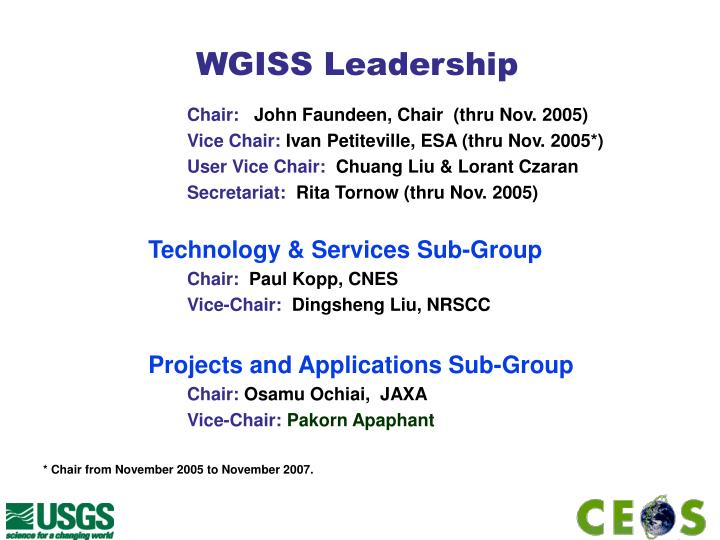 WGISS Leadership