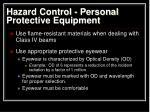 hazard control personal protective equipment